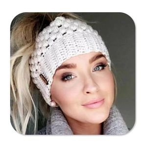 Ponytail Stretch Knit Beanie-4 colors!